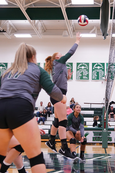 Matthew Gaston | The Sheridan Press<br>Tongue River's Seeara Wojtczak (12) tips the ball over putting the Lady Eagles up by one against Rocky Mountain in the first set Friday, Sept. 27, 2019.