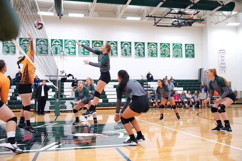 Matthew Gaston | The Sheridan Press<br>Tongue River's Carleigh Reish (1) makes the kill against Rocky Mountain at Tongue River High School Friday, Sept. 27, 2019.