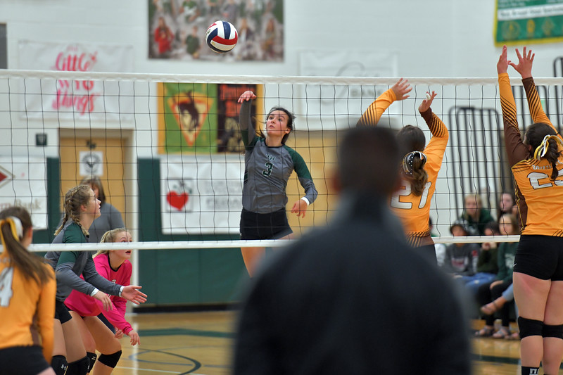 Matthew Gaston | The Sheridan Press<br>Tongue River's Izzy Carbert (3) spikes the ball across court Friday, Sept. 27, 2019.