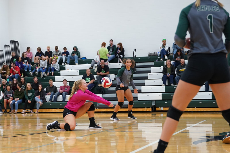 Matthew Gaston | The Sheridan Press<br>Tongue River's defensive specialist, Sydney Butler, (0) comes up with the dig against Rocky Mountain Friday, Sept. 27, 2019.