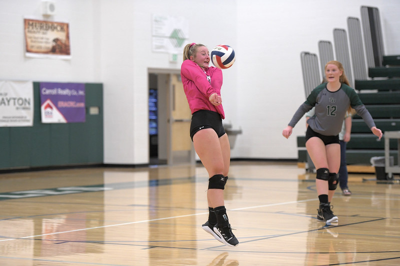 Matthew Gaston | The Sheridan Press<br>Tongue River libero Sydney Butler (0) manages to stop a bullet of a serve during the first set of the match against Greybull Friday, Oct. 18, 2019.
