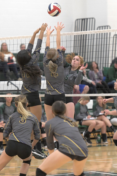 Matthew Gaston | The Sheridan Press<br>Tongue River's Emma Schroder (5) makes a well placed shot to the back corner of the court catching the Greybull defense by suprise Friday, Oct. 18, 2019.