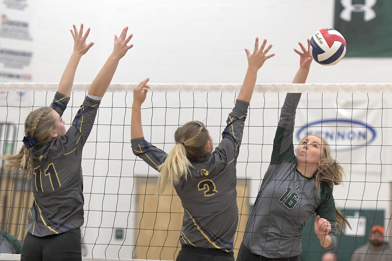 Matthew Gaston | The Sheridan Press<br>Tongue River's Sydnee Pitman (16) fakes out the Greybull blockers with a well placed shot Friday, Oct. 18, 2019.