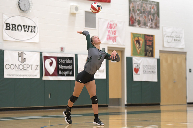 Matthew Gaston | The Sheridan Press<br>Tongue River's Izzy Carbert (3) serves up an ace against Greybull Friday, Oct. 18, 2019.