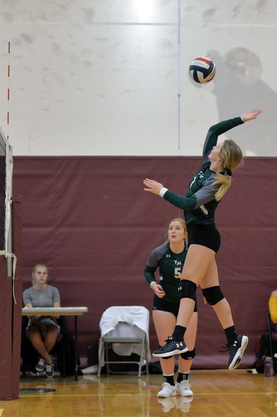 Joel Moline | The Sheridan Press<br /> Tongue River's Carleigh Reish (1) spikes the ball against Wind River Saturday, Sept. 14, 2019.