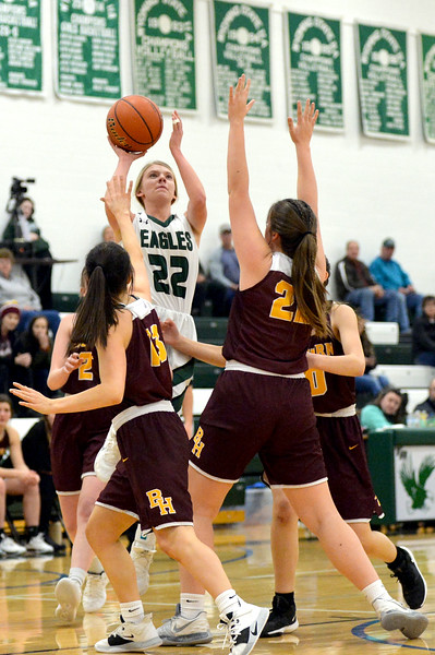 Joel Moline   The Sheridan Press<br /> Tongue River's Kalie Bocek (22)rises above the defense for a basket during the game between Tongue River and Big Horn high schools Thursday, Feb. 6, 2020.