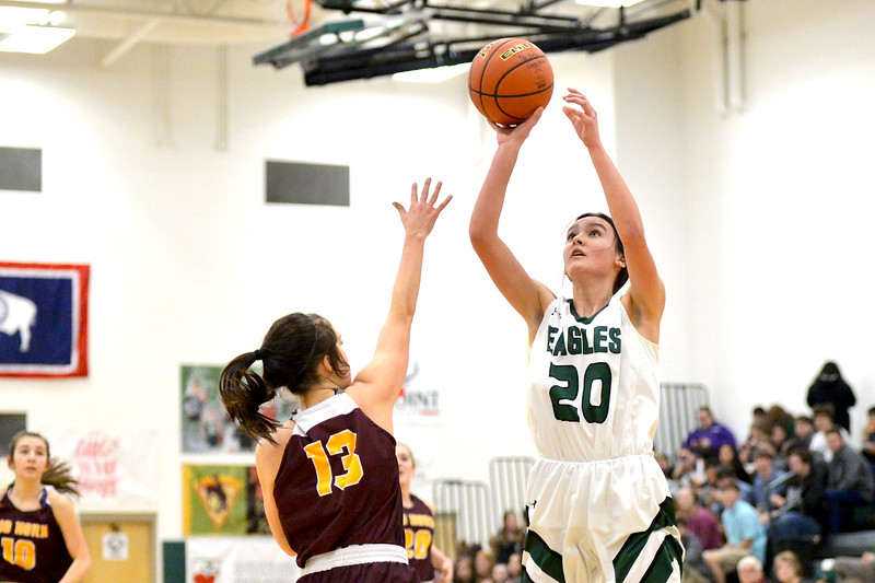 Joel Moline   The Sheridan Press<br /> Tongue River's Izzy Carbert (20) scores before the defense can reach her during the game between Tongue River and Big Horn high schools Thursday, Feb. 6, 2020.