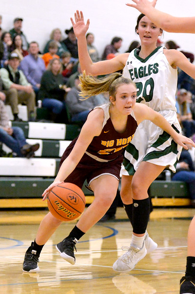 Joel Moline   The Sheridan Press<br /> Big Horn's Courtney Wallach (20) drives to the basket against Tongue River, Thursday, Feb. 6, 2019.