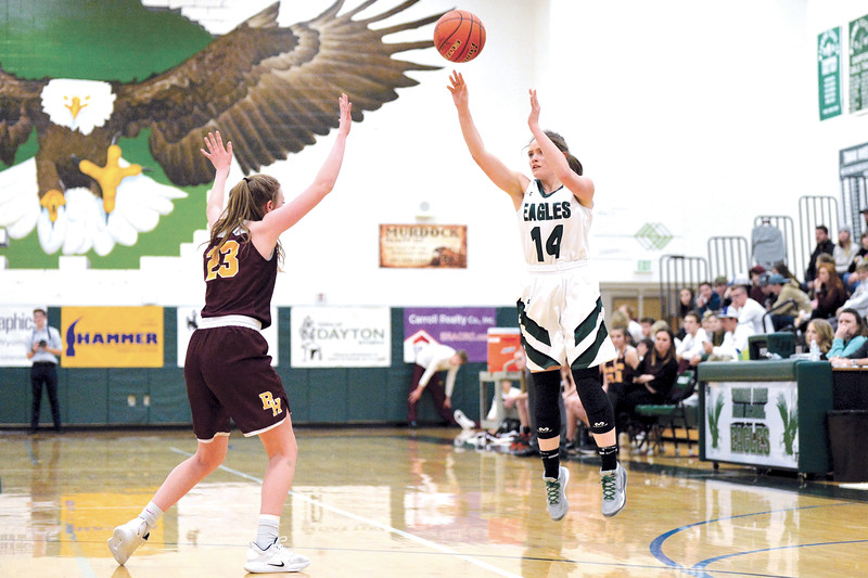 Joel Moline   The Sheridan Press<br /> Tongue River's Linsey Trischler (14) makes a 3-pointer during the game between Tongue River and Big Horn high schools Thursday, Feb. 6, 2020.