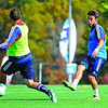 New England Revolution's Diego Fagundez, 18, of Leominster (right) passes the ball by teammate A.J. Soares during an October 2013 practice at Gillette Stadium in Foxboro. SENTINEL & ENTERPRISE / BRETT CRAWFORD