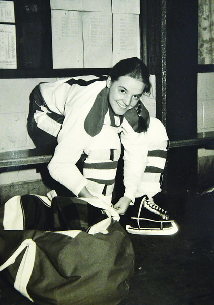 Newspaper clippings of Kathy Lawler, a former ice hockey player in Fitchburg. She played on all boys teams for Fitchburg Youth Hockey, Fitchburg High, and Potsdam State in the 1970's and 80's. SENTINEL & ENTERPRISE / Ashley Green