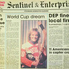 Newspaper clippings of Kathy Lawler, a former hockey player in Fitchburg. She played on all boys teams for Fitchburg Youth Hockey, Fitchburg High, and Potsdam State in the 1970's and 80's. SENTINEL & ENTERPRISE / Ashley Green