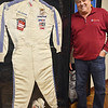 Fitchburg native and former NASCAR racer Ron Bouchard, pictured with the racing suit he won the Talladega 500 with in 1981. SENTINEL & ENTERPRISE / Ashley Green