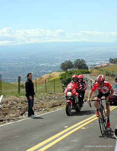 Stage 4, Horner climbing Sierra Drive toward stage win and into the leader's yellow jersey.