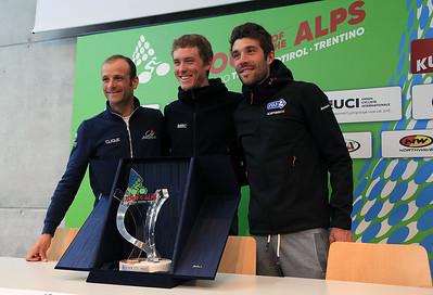 Press Conference Kufstein: Michele Scarponi (Astana), Rohan Dennis (BMC) and Thibault Pinot (FDJ)