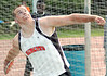 Nik Huffman from Virginia High throwing his record 181 feet in the discus. Photo by Ned Jilton II