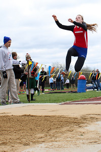 "Ken Kadwell/@KenKadwell - Special to the Sun Chippewa Hills' Callee Stirn competes in the long jump at Chippewa Hills Friday, May 16, 2014.  ""I got my second best jump so far today,"" said Stirn."