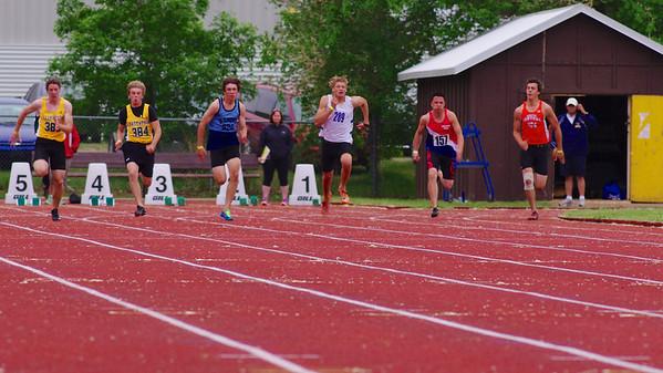 Kristian McCullough, 100m, final, Provincial High School track meet, Moose Jaw, Saskatchewan
