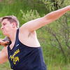 Record-Eagle/Brett A. Sommers Traverse City Central's Sam Sherwin competes in the shot put at Wednesday's Golden Baton track and field meet at Traverse City West.