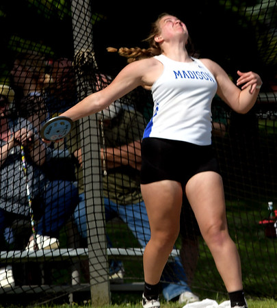 WARREN DILLAWAY | Star Beacon<br /> Becca Martin of Madison throws the discus on Friday morning at Hilliard Darby High School during the Division I Ohio High School Athletic Association Track Meet in Columbus.