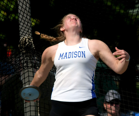 WARREN DILLAWAY | Star Beacon<br /> Becca Martin of Madison follows throws a discus  on Friday morning at Hilliard Darby High School during the Division I Ohio High School Athletic Association Track Meet in Columbus.