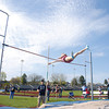 Shikellamy's Olivia Kratzer goes over the pole vault during Tuesday's meet against Lewisburg.