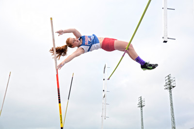 Selinsgrove's Katie Bond skims the bar as she tries to get over it during an attempt at the pole vault in Tuesday's meet against Danville.