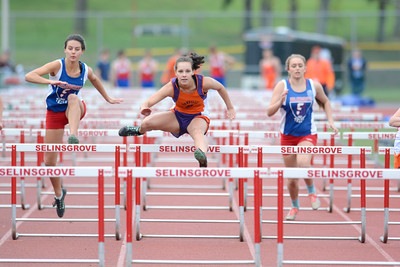 Danville's Giavonna Fracalassi clears a hurdle in the 110 high hurdles event during Tuesday's track meet at Selinsgrove.