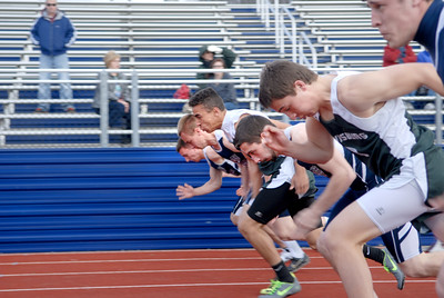 Sprinters get off to a quick start in the 100 meter dash at Tuesday's track meet between Lewisburg and Shikellamy.