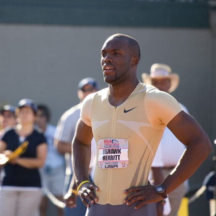 Olympic Gold Medalist Leshawn Merritt moments before the men's 400m final.