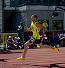 Jeremy Wariner finishing off the turn of the 200m.