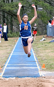 North Cobb's Bria Holloway competes in the long jump Saturday morning at Wheeler High School.