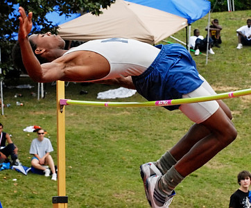 Marietta's Elliot Patterson competes in the high jump Thursday afternoon during the boys state track meet at Memorial Stadium in Jefferson.