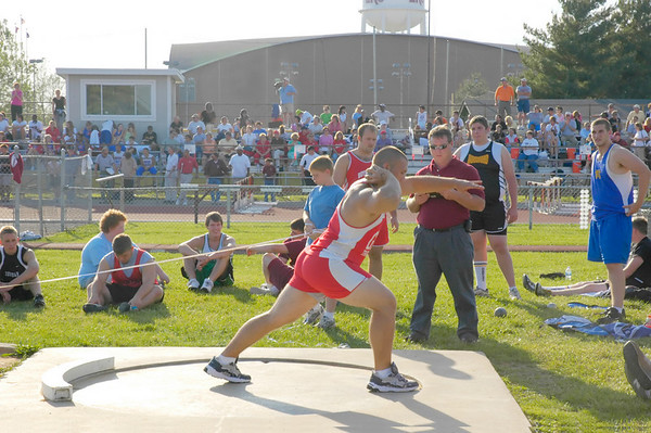Teenage shot put thrower