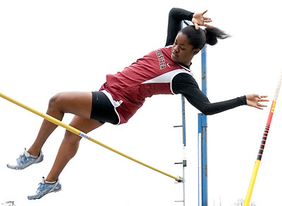 Lassiter's Joyce Duhart competes in the pole vault competition Saturday morning at Wheeler High School.