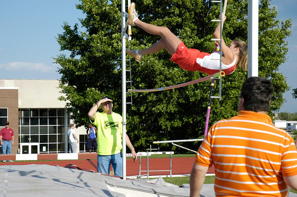 Teenage girl pole vaulter