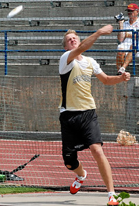 Sprayberry's Braydon Anderson releases the discus Thursday afternoon during the boys state track meet at Memorial Stadium in Jefferson.