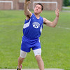 Lunenburg High School senior Greg McGrath competes in the shot putt at Lunenburg High School on Thursday afternoon. SENTINEL & ENTERPRISE/JOHN LOVE