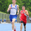 Bromfield High School sophomore Nick Steele leads the pack with Tyngsboro senior Cody Robson right behind him during the 4x800 at Lunenburg High School on Thursday afternoon. SENTINEL & ENTERPRISE/JOHN LOVE
