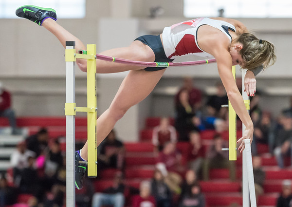 Alexis Weeks clears 4.60 meters (15 ft 1 in) during the Tyson Invitational track meet on February 13, 2016.    (Alan Jamison, Nate Allen Sports Service)