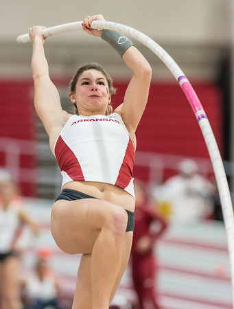 Alexis Weeks vaults during the Tyson Invitational track meet on February 13, 2016.    (Alan Jamison, Nate Allen Sports Service)