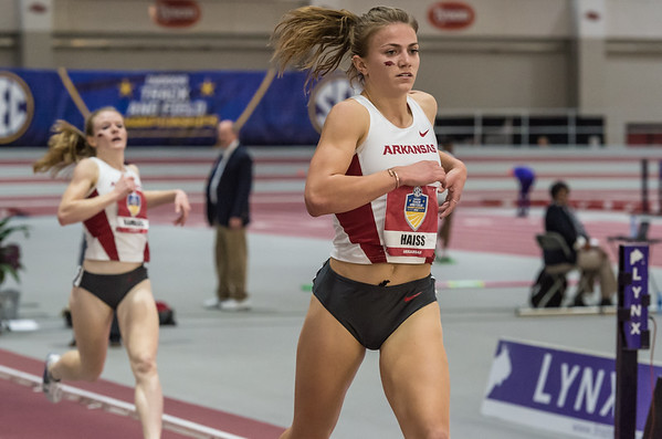 Therese Haiss takes second place in the mile run during the SEC Indoor Track Championships on 2-27-16.   (Alan Jamison, Nate Allen Sports Service)