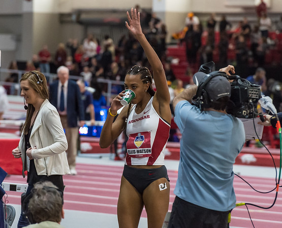 Taylor Ellis-Watson waves to fans after winning the 400 meter run during the SEC Indoor Track Championships on 2-27-16.   (Alan Jamison, Nate Allen Sports Service)