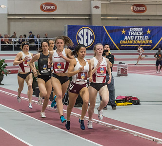 Arkansas took second (Therese Haiss), third (Jessica Kamilos) and sixth (Nikki Hiltz) in the mile run during the SEC Indoor Track Championships on 2-27-16.   (Alan Jamison, Nate Allen Sports Service)