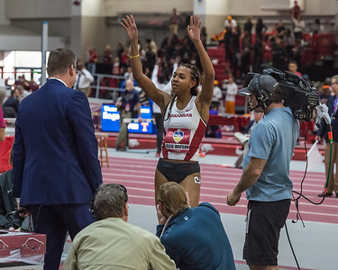 Taylor Ellis-Watson calls the hogs with fans after winning the 400 meter run during the SEC Indoor Track Championships on 2-27-16.   (Alan Jamison, Nate Allen Sports Service)