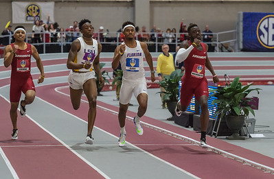 Arkansas took fourth (Marqueze Washington) and seventh (Obi Igbokwe) in the 400 meter dash during the SEC Indoor Track Championships on 2-27-16.   (Alan Jamison, Nate Allen Sports Service)