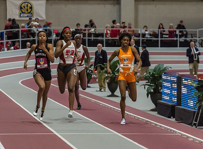 Diana Harper takes sixth place in the 400 meter dash during the SEC Indoor Track Championships on 2-27-16.   (Alan Jamison, Nate Allen Sports Service)