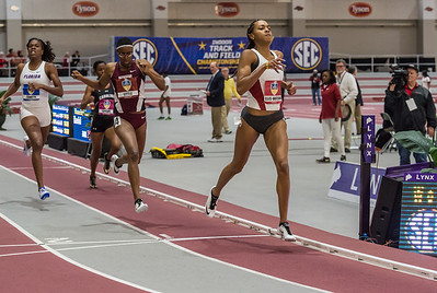 Taylor Ellis-Watson takes first in the 400 meter dash during the SEC Indoor Track Championships on 2-27-16.   (Alan Jamison, Nate Allen Sports Service)