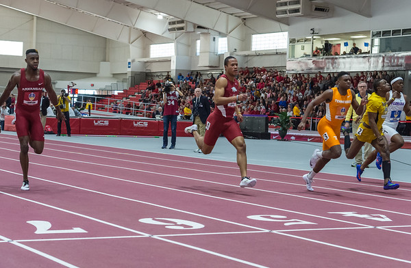 Kenzo Cotton and Jarrion Lawson take third and fourth in the 60 Meter dash during the SEC Indoor Track Championships on 2-27-16.   (Alan Jamison, Nate Allen Sports Service)