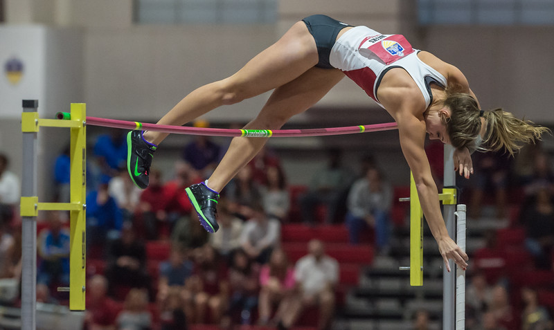 """Lexi Weeks easily clears 14' 5"""" in the pole vault during the SEC Indoor Track Championships on 2-27-16.   (Alan Jamison, Nate Allen Sports Service)"""